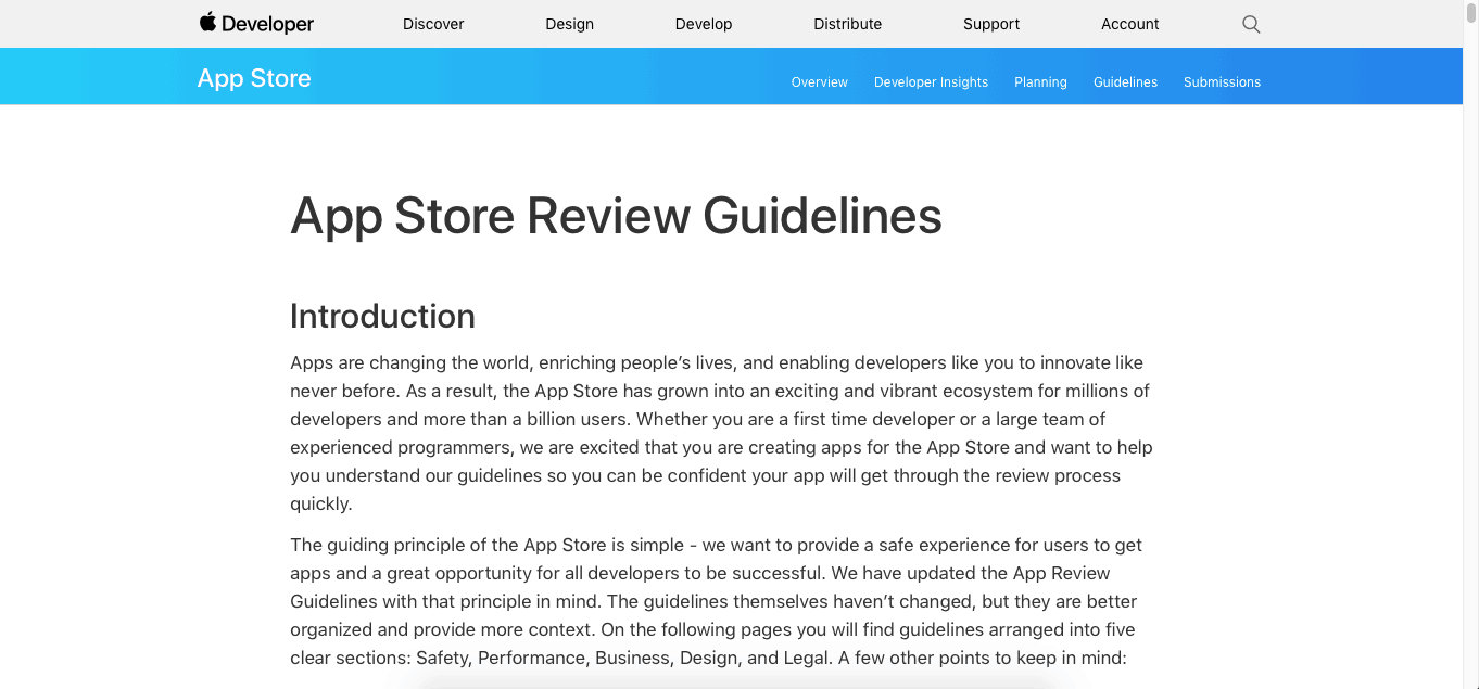 App store review guidelines from Apple